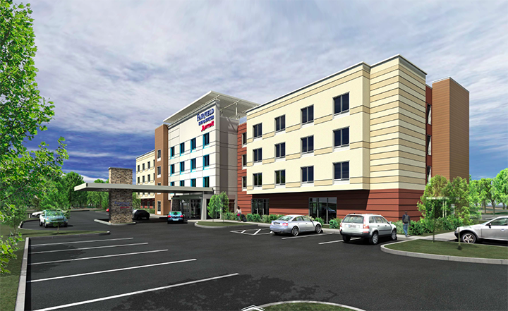 Good Hospitality Services LLC has proposed building an $8 million Fairfield Inn & Suites hotel off I-69 near the upcoming 106th Street interchange. (Submitted rendering)