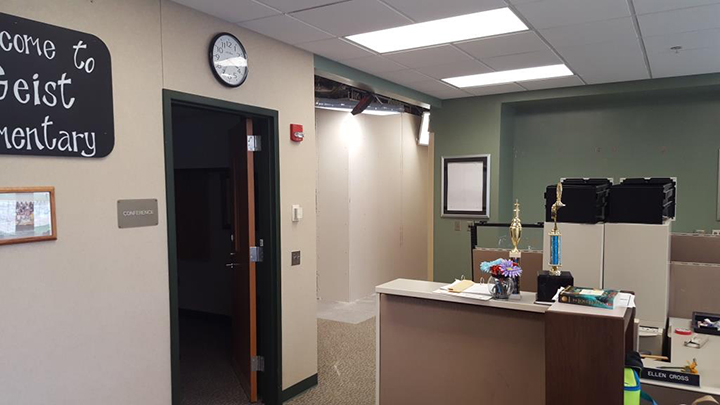 Geist Elementary School's front desk area was reconfigured to add a new office for the school's new assistant principal. (Submitted photos)