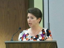 HSE Schools Business Manager Cecilie Nunn addresses the school board on the topic of school fees for the upcoming 2016-17 school year. (Photo by Sam Elliott)