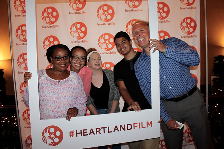From left, Veronica Claxton, Kaila Claxton, Sydni Beaty, Kyle Allan and Brad Claxton at the Heartland Film Festival Summer Rewind fundraiser featuring comedian Drew Lynch. Beaty and Allan helped Kaila Claxton form the Stutter Awareness Club at Fishers High School last school year. (Photos by Amy Pauszek)