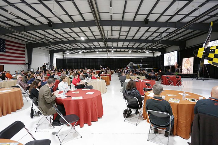 The crowd at last year's FailFest event listen to a speaker inside a hanger at the Indy Metro Airport. (Submitted photos)