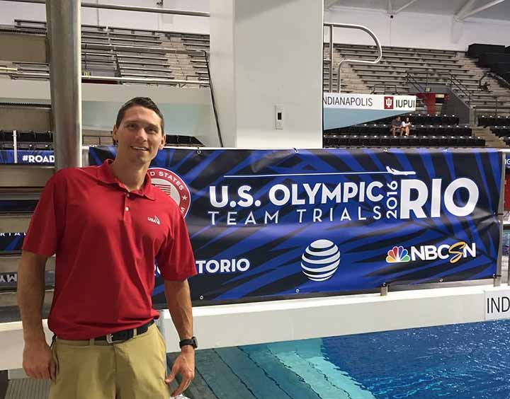 Dr. Clark Scott pauses next to a pool during the Team USA Diving Olympic Trials. Scott will travel as part of the USA Diving medical team to Rio de Janeiro, Brazil, for the Olympics. (Submitted photo)