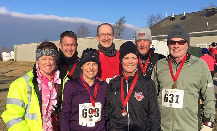The Westfield Running Club members participate in various races and fundraisers. Front, from left, Angela Smitherman, Deb Rush, Carolyn McCutcheon and Bill Kirsch. Back, from left, Joel Rush, Fritz Krueger and Ed Wroblewski. (Submitted photo)