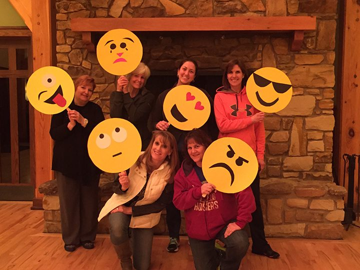 Women's Auxiliary members made giant emojis for summer campers and youth leaders to use. Back from left, Pam Robbins, Anita Hubley, Lacey Dabelow, Karen Midkiff. Front row, from left, Leslie Concannon and Jo VanTreese. (Submitted photo)