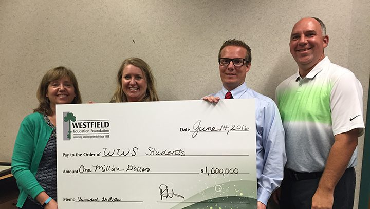 The Westfield Education Foundation celebrates giving $1 million to students and staff. From left, Amy Pictor, Amber Willis, Ryan Mooney and Duane Lutz. (Submitted photo)