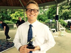 Seth Voegele, 18-and-over winner of CarmelFest Has Talent. (Photo by Mark Ambrogi)
