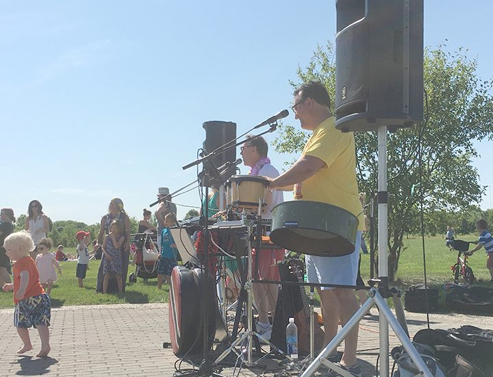 The Island Breeze Duo plays the steel drum at West Park on June 13. (Submitted photo)