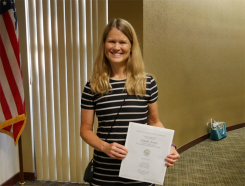 The school board recognized Carmel High School math teacher Linda Jones at its Aug. 22. Meeting. (Submitted photo)