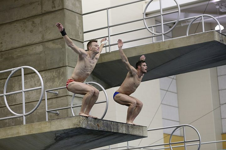 Steele Johnson, left, and David Boudia practice synchronized diving at Purdue University. They will compete as a team at the Rio Olympics. (Photo by Ann Marie Shambaugh)