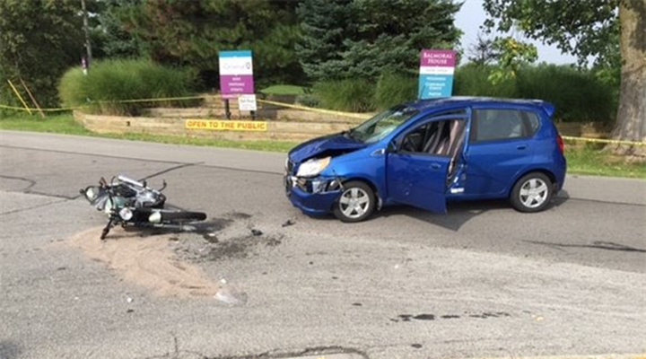 A Chevrolet car and Suzuki motorcycle crashed at the intersection of Willowview and Masters roads Aug. 1. (Submitted photo)