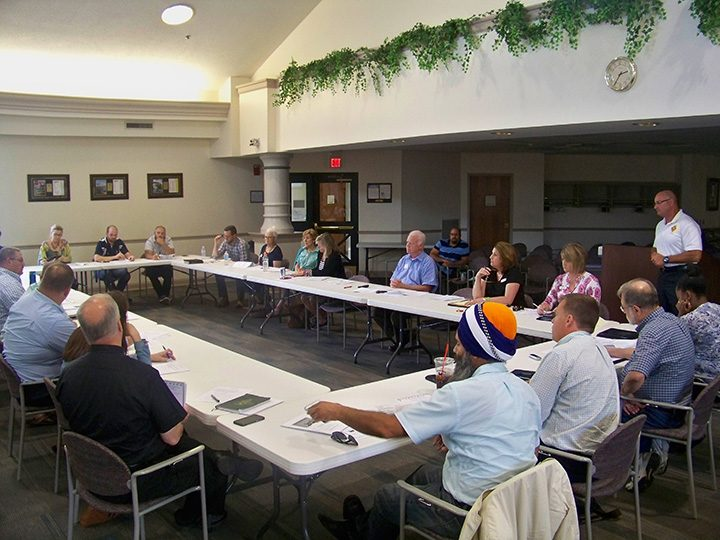 Members of the faith-based division of the Fishers Mental Health Task Force gathered at city hall for a meeting focusing on teen suicide prevention. (Photo by Sam Elliott)