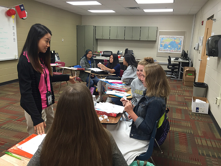 Yi-Fan Lin works with students in her MVHS classroom. (Submitted photo)