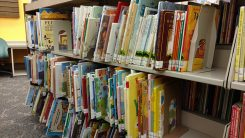 The library is seeking people to help put the books back in order on the shelves in the children's area during the shelf-reading party. (Photo by Heather Lusk)