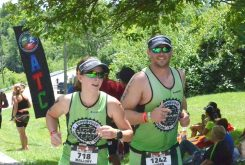 Mallory Long and Loren Long compete in Ironman 70.3 in Muncie in July. (Submitted photo)