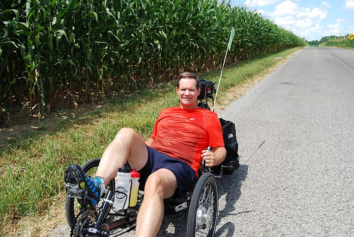 Glenn Howell will ride a recumbent bike around Lake Michigan to raise money for his church and efforts it supports. (Submitted photo)
