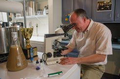 Tom Wallbank uses his microscope to monitor his yeast culture. (Photo by Jason Conerly)