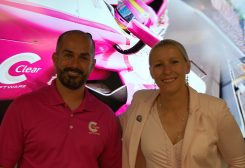From left, Clear Software CEO Jon Gilman and racecar driver Pippa Mann. (Photo by Heather Lusk)