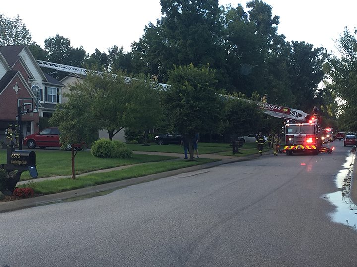Zionsville Fire Department Ladder 93 is set up in front of a home in the 6000 block of Bainbridge Circle checking for fire in a home that was struck by lightning. (Submitted photo)
