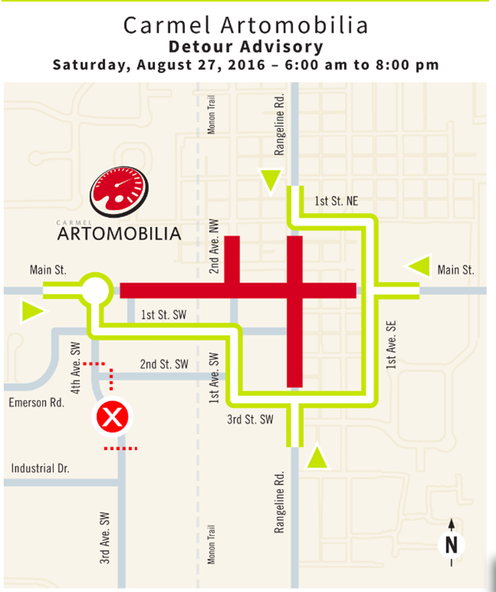 Detours will be in place during Carmel's Artomobilia this weekend. (Submitted map courtesy of City of Carmel)