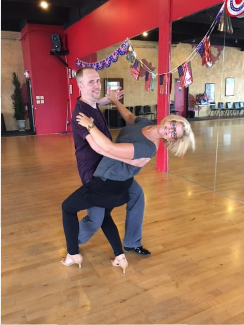Instructor Rob Jenkins and Julia Lowe rehearse for the competition. (Submitted photo)