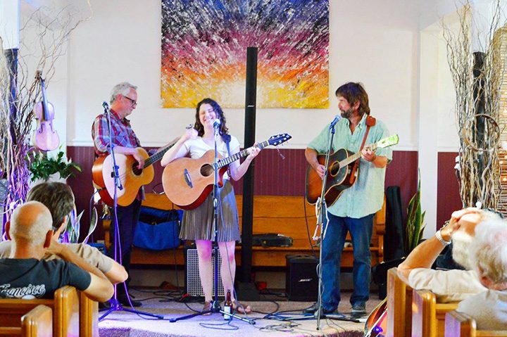 Gary Wasson, Kelli Yates and John Gilmore play music as the Noble Roots. Yates is a barista at Noble Coffee & Tea Company. (Submitted photo)