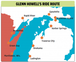 Glenn Howell will begin his ride in Manitowoc, Wisc., and end in Ludington, Mich. (Submitted graphic)