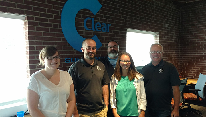 The Zionsville Clear Software team, from left, Kaitlin Koenig, Jon Gilman, Shane Eller, Shelby Fletcher and Marty Thompson. (photo by Heather Lusk)