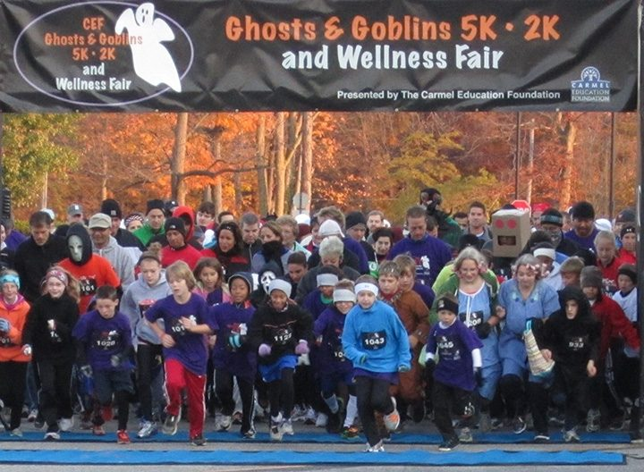 Participants cross the start line at a Ghosts and Goblins race. (Submitted photo)