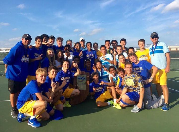 The Carmel High School boys tennis team celebrates winning a state championship. (Submitted photo)