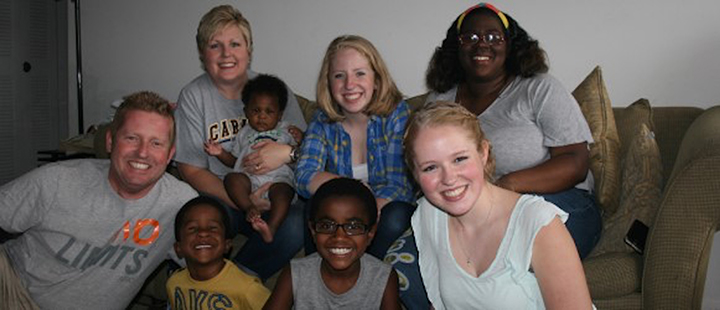 A host family involved with Safe Families for Children pauses with the children they hosted and their biological mother. Front, from left, Shane Whybrew, Jeremiah, Kaleb and Sadie. Rear, from left, Kris Whybrew, Jayce, Lily and Shanice Watkins. (Submitted photo)