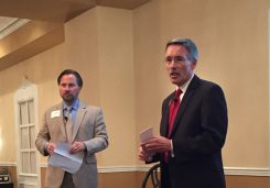 Dr. Nick Wahl and Dr. Allen Bourff presented the State of the Schools Sept. 14. (Photo by Anna Skinner)