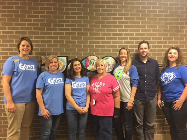 The Blue Ribbon Committee Application team for Geist Elementary School. From left, Christi Thomas, Krista Beck. Jeanine Scott, Deb Kappus, Tara Harris, John Reynolds and Lori Cushman. Not pictured, Rhonda Taylor. (Submitted photo)