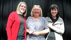 Cheryl Wright, center, received the prestigious Beth Tindel Service Award from library foundation representatives Bethany Warner, left, and Roberta Jaggers. (Submitted photo)