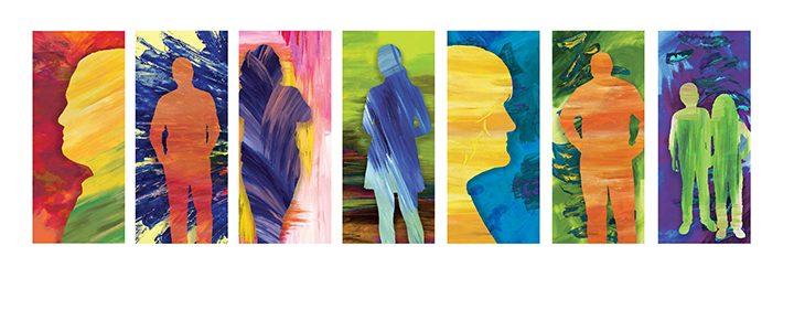 The entrepreneurs featured in Rachel Johnson's artwork. Silhouettes, from left, John Wechsle, Santiago Jaramillo, Kelsey Habig, Cydney Ogan, Lynda Carlino, David Becker and Future Entrepreneur. (Submitted photo)