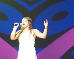 Claire Baney sings at a Future Farmers of America event. (Submitted photo)