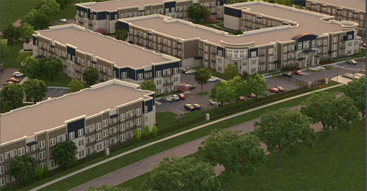 A rendering of the multi-family apartment complex. All apartment buildings have a minimum of three stories, with 25 percent of the apartments a four-story building. (Submitted renderings)