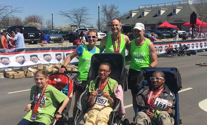 Back row, from left, Julie Gebhart, Tom Wadelton, Tim Weber, and front row, Gwen Gebhart, Kiara Lee and Davian Bartlett participate in a race through the Run2gether program. (Submitted photo).