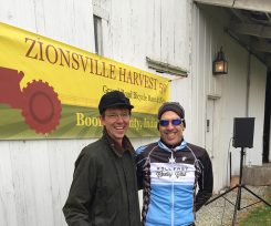 Event Director Tim Casady, left, with Masters 40-50-year-old winner Pat Meyer of Carmel at the 2015 event. (Submitted photo)
