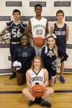 Back row from left, TPCA students Isaac Byely, Cameron Simmons, Tristan Otis, middle row, Fehintolu Odelowo, Sydney Walker, and front row, Brittney Walker display rebranded jerseys. (Submitted photo)