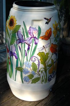 A silent auction will take place for a hand-painted rain barrel. This one was auctioned off last year. (Submitted photo)