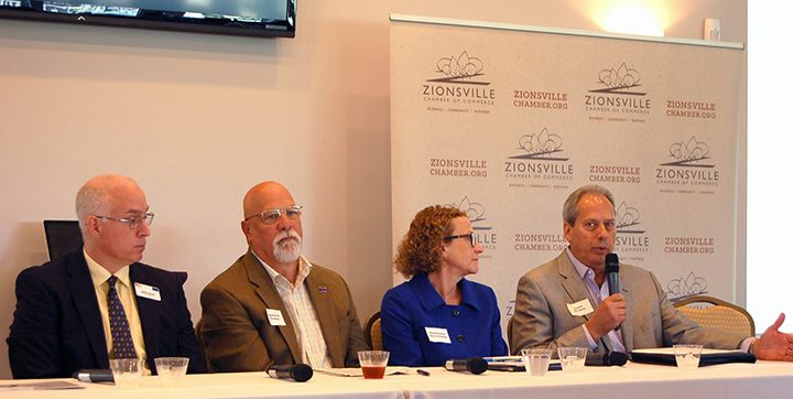 Sen. Mike Delph, State Rep. Dr. Tim Brown, State Rep. Donna Schaibley and State Sen. Phil Boots were part of a legislative panel sponsored by the Zionsville Chamber of Commerce. (Photo by Heather Lusk)