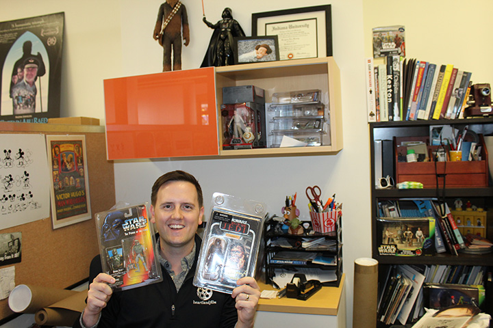 Greg Sorvig collects movie memorabilia, some of which can be found in his Heartland Film Festival office. (Photo by Amy Pauszek)