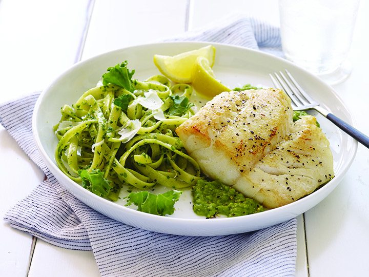 Pan-served cod over minted pea puree. (Submitted photo)