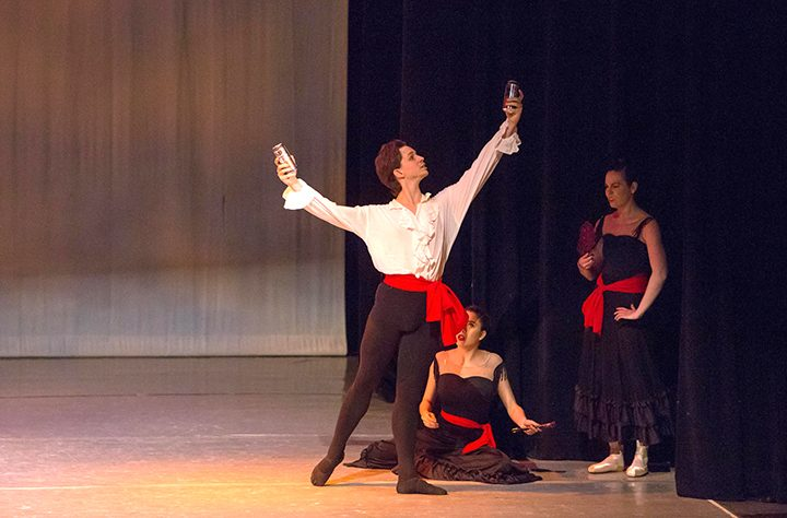 Stirling Matheson performing in the 2016 Beer & Ballet. From left in background, Cheyanne Elam and Annie Mushrush. (Submitted photo by Mark Abarca)