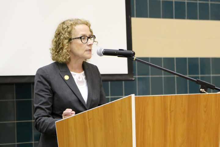 State Rep. Donna Schaibely, who represents Zionsville, part of Carmel and other areas, speaks at the Iftar. (Photo by Ann Marie Shambaugh)