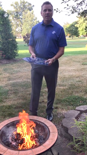 Rodney Heard of Carmel prepares to burn his Colts season tickets in response to some of the players choosing to kneel during the national anthem Sept. 24. (Submitted photo)