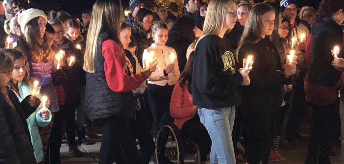 Fishers teachers, students and residents gather at a prayer vigil at Hoosier Road Elementary Oct. 25.