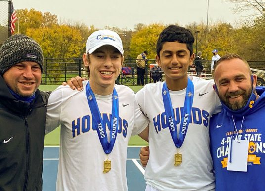 Carmel High School doubles team breezes to state tennis title