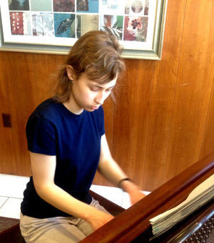 """Julie Puckett, a freshman in the College of Engineering, won a Music Teachers National Association Composition Competition award for her self-written piano piece, """"In Future Space."""" (Photo by Megan Tarter for The Purdue Exponent)"""