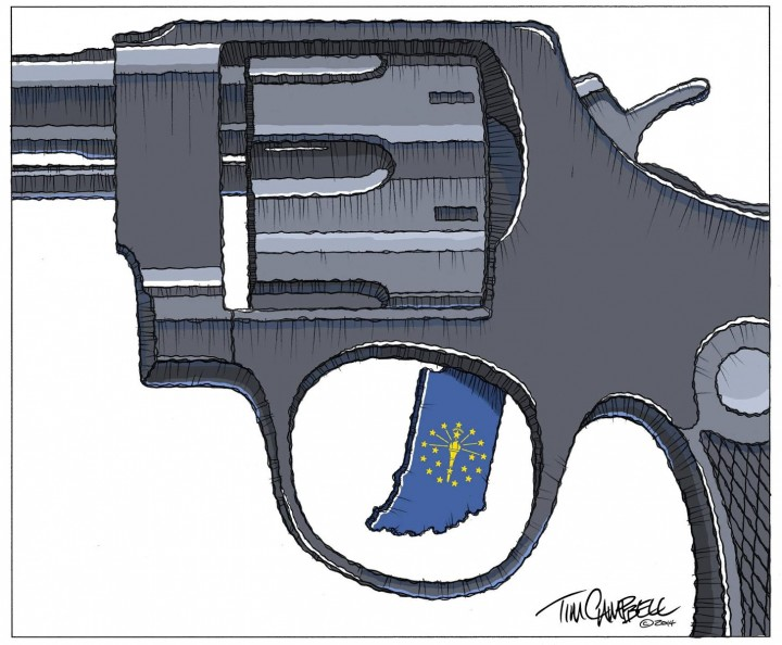 A cartoon by Tim Campbell that won the best editorial cartoon award by the Society for Professional Journalists.